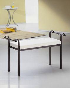 Nizza bench, Banco tradicional en metal con asiento tapizado