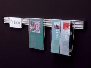 Desk up aparece el mensaje, Expositor en acrílico transparente sobre barras de aluminio