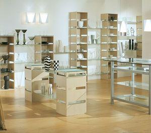 Aury 21/RE, Expositor estanterías moderno, de vidrio, para tiendas y boutiques