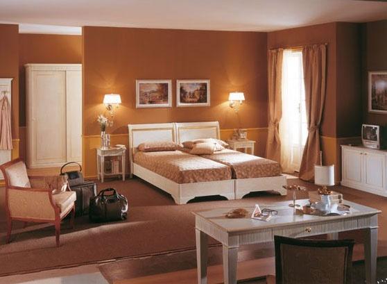 Collezione Este, Muebles de la sala del hotel, acabado blanco cepillado, la decoración de hojas de oro