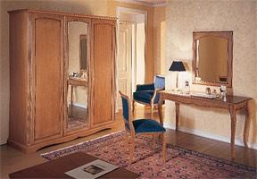 Collezione Medea, Muebles de estilo de hotel habitación, con acabado en madera de cerezo elegante