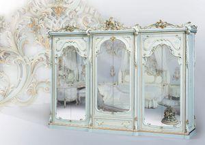 508, Armario clásico lacado blanco, con espejo