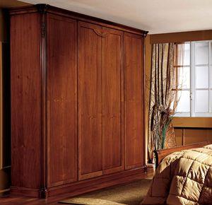 Alice armario puerta de madera, Armario con 4 puertas, nuez chapeada, de estilo clásico