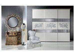 AR14 Novecento lacquered armario, Armario cl�sico lacado blanco con decoraci�n de hojas de plata