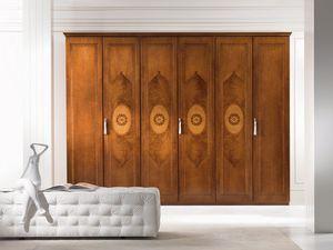 AR17 I Rosoni armario, Armario con puerta abatible, incrustaciones en varias maderas