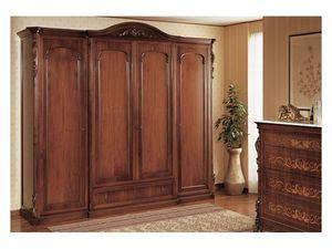 Art. 294 wardrobe closet '800 Siciliano, Armario hecho a mano, para el dormitorio de estilo clásico