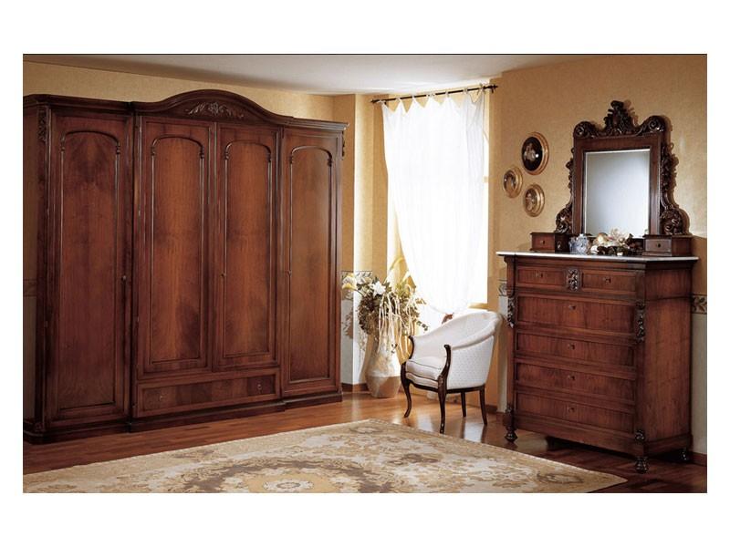 Art. 973 wardrobe closet '800 Siciliano, Armario de estilo antiguo, con 4 puertas, para el dormitorio