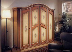 Avignone, Armario de estilo clásico, 4 puertas con decoraciones hechas a mano