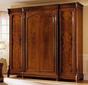 D'Este armario puerta de madera, Lujo nogal armario, con 4 puertas, acabado de cera