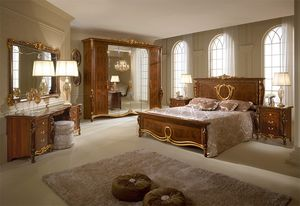 Donatello armario con 6 puertas, Armario de estilo neoclásico, tallas e incrustaciones artesanales