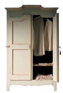 Geneviève BR.0751, Armario lacado con 2 puertas, con un estante interior, apto para dormitorios de estilo clásico