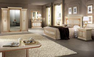 Leonardo armario, Armario espacioso y funcional, 4 puertas con marcos de oro