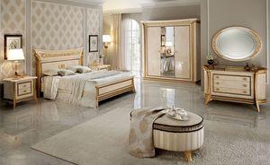Melodia pequeño armario, Armario 3 puertas, de estilo clásico, acabados en pan de oro