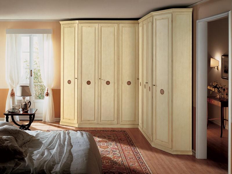 Olimpo Angular, Armario de esquina en madera, 8 puertas, adecuado para dormitorios de estilo clásico