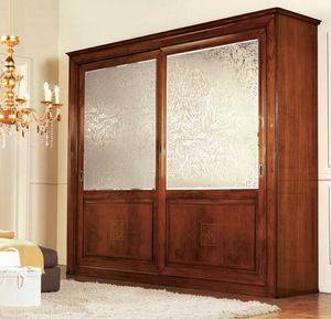 Olympia Armario 2 puertas con serigrafía, Armario clásico con espejos de seda satén proyectó
