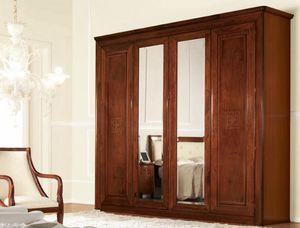 Olympia Armario de 4 puertas con espejo, Armario clásico con espejos, con los cajones internos