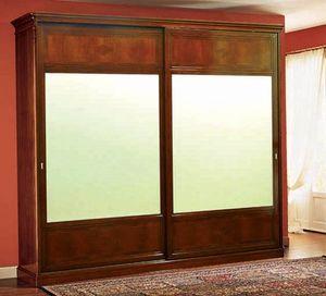 Opera armario puertas correderas, Armario clásico con puertas correderas hechas de madera de nogal