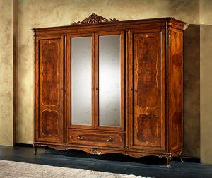 P 708, Armario clásico con 2 espejos, 4 puertas y 1 cajón