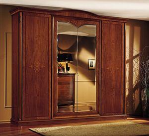 Praga armario, Guardarropa clásico, en madera de nogal, con 4 puertas