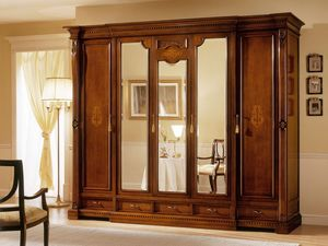 REGINA NOCE / 5 doors wardrobe (3 doors central mirror), Armario de lujo con 5 puertas, 3 con espejo, para hoteles