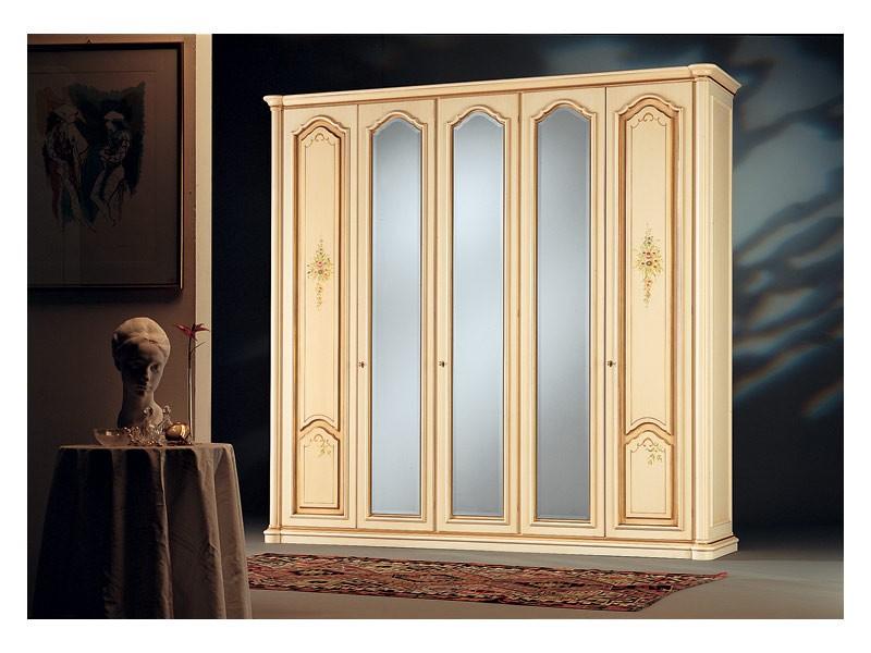 Rialto, Armario de estilo antiguo, 3 puertas de espejo, 2 puertas de madera decoradas a mano