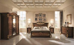Sinfonia pequeño armario, Armario con 3 puertas, en abedul y nogal, una cuidadosa atención en toda la decoración