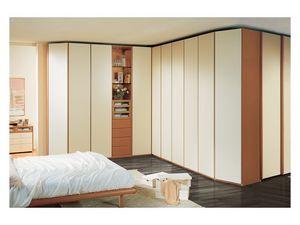 Wardrobe 26, Amplio armario de esquina para el dormitorio, elementos visibles, puertas de marfil lacado