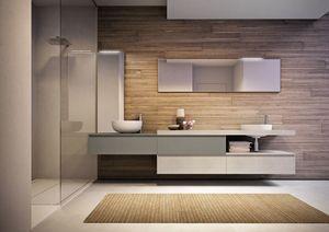 Cubik comp.15A, Amplios muebles de baño, con dos lavabos y espejos