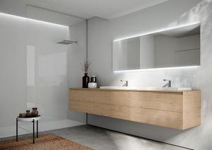 Cubik comp.16, Mueble de baño con dos lavabos, con diseño esencial