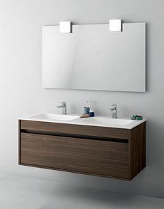 Duetto comp.13, Gabinete de baño que ahorra espacio con doble lavabo