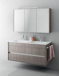 Duetto comp.14, Mueble de baño monobloque con doble lavabo