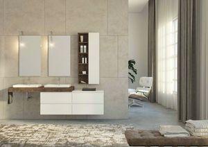 FREEDOM 35, Mueble de lavabo doble suspendido en madera de abeto con cajones