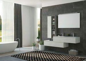 FREEDOM 37, Mueble bajo lavabo doble suspendido en HPL con espejo