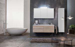 Kami comp.01, Mueble de baño modular con doble lavabo