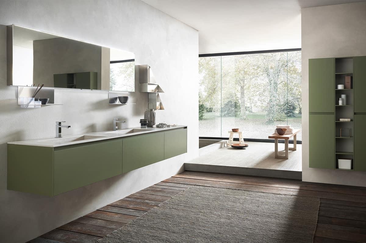 Muebles de ba o con doble lavabo de gres acabado verde for Banos 2 lavabos