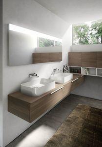 My time comp.07, Mueble de baño con dos lavabos de cerámica