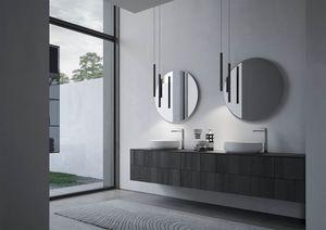 Sense comp.04, Muebles de baño con dos lavabos redondos de cerámica