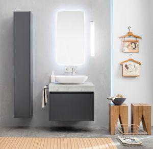 Kami comp.12, Mueble de baño modular con columna de almacenamiento
