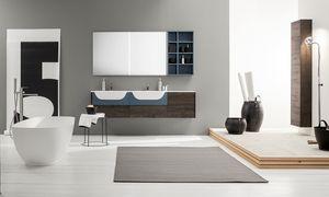 Kami comp.15, Mueble de baño modular con doble lavabo