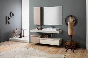 Kami comp.20, Mueble de baño de pared con columna de almacenamiento