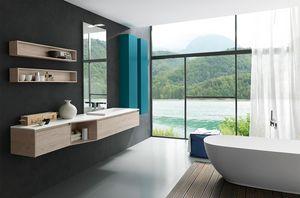 Lime 2.0 comp.03, Mueble de baño con tapa y lavabo en Tecnoril