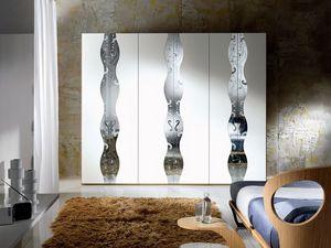 AR19 Iride, Armario modular, puertas lacadas, espejo con decoraciones