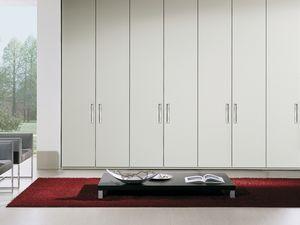 Armario Itaca 14, Armario moderno con mango de metal, decoraciones built-in