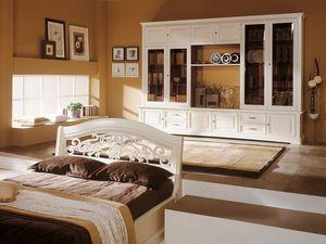 Art.109/L, Mueble en chapa de madera lacada en blanco, con puertas de cristal
