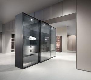 ATLANTE WIND comp.01, Gabinete / escaparate con puertas correderas, de aluminio y cristal
