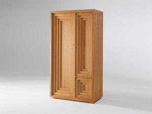 Josef Hoffmann wardrobe, Gabinete en madera natural de cerezo, tres puertas, diseño vienés