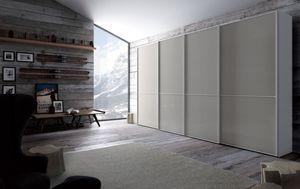 Link, Armario en woon y vidrio, puertas correderas, para el dormitorio