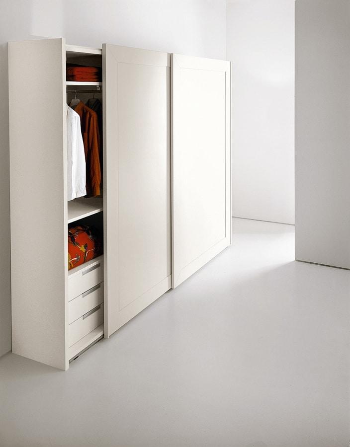 PASSE-PARTOUT, Armario para el dormitorio, puertas con espejo enmarcado