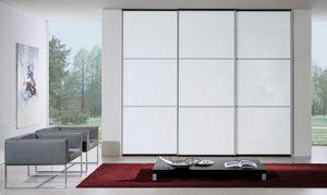 Wardrobe 90, Armario con puertas correderas, cristal lacado blanco, moderno y de diseño esencial