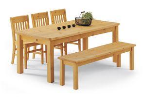 Colección patas del banco, Mesa de mesa completamente pino, para casas de troncos